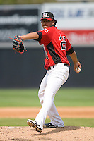 Starting pitcher Wilfredo Boscan #25 of the Hickory Crawdads in action versus the West Virginia Power at L.P. Frans Stadium August 9, 2009 in Hickory, North Carolina. (Photo by Brian Westerholt / Four Seam Images)