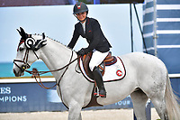 MIAMI BEACH, FL - APRIL 05: Germany's, Philipp Weishaupt won, Georgina Bloomberg and her horse<br /> Paola 233 come in second place and third was taken by Eric Lamaze at the Longines Global Champions Tour stop in Miami Beach. Georgina Leigh Bloomberg is the younger daughter of former New York City Mayor and billionaire Michael Bloomberg and Susan Brown on April 5, 2018 in Miami Beach, Florida.<br /> <br /> People:  Georgina Bloomberg