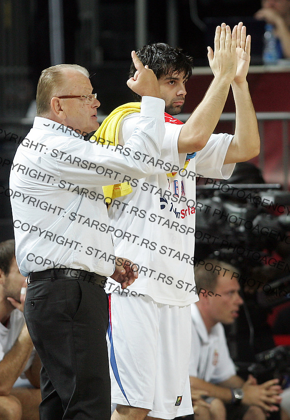 Dusan IVKOVIC (Serbia) head coach, and Milos TEODOSIC (Serbia) reacts during the semi-final World championship basketball match against Turkey in Istanbul, Serbia-Turkey, Turkey on Saturday, Sep. 11, 2010. (Novak Djurovic/Starsportphoto.com) .