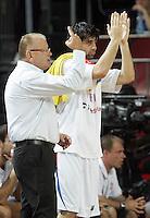 Dusan IVKOVIC (Serbia) head coach, and Milos TEODOSIC (Serbia) reacts during the semi-final World championship basketball match against Turkey in Istanbul, Serbia-Turkey, Turkey on Saturday, Sep. 11, 2010. (Novak Djurovic/Starsportphoto.com) .