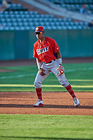 Jose Verrier (12) third baseman of the Orem Owlz on defense against the Ogden Raptors at Lindquist Field on September 3, 2019 in Ogden, Utah. The Raptors defeated the Owlz 12-0. (Stephen Smith/Four Seam Images)