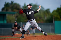 Edgewood Eagles pitcher Ryan Howell (23) delivers a pitch during the first game of a doubleheader against the Lasell Lasers on April 14, 2016 at Terry Park in Fort Myers, Florida.  Edgewood defeated Lasell 9-7.  (Mike Janes/Four Seam Images)