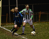 20131213 - VARSENARE , BELGIUM : Brugge's Silke Demeyere (left) pictured with Zwolle's Sylvia Smit (right) during the female soccer match between Club Brugge Vrouwen and PEC Zwolle Ladies , of  matchday 14  in the BENELEAGUE competition. Friday 13th December 2013. PHOTO DAVID CATRY