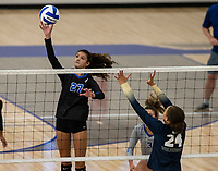 Brooklyn Weaver (27) of Rogers hits ball over the net against Bentonville West at Rogers High School, Rogers, AR, on Thursday, September 9, 2021 / Special to NWADG David Beach