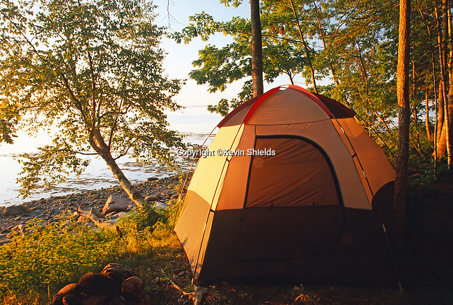 Tent at the edge of Penobscot Bay, Searsport, Maine, USA