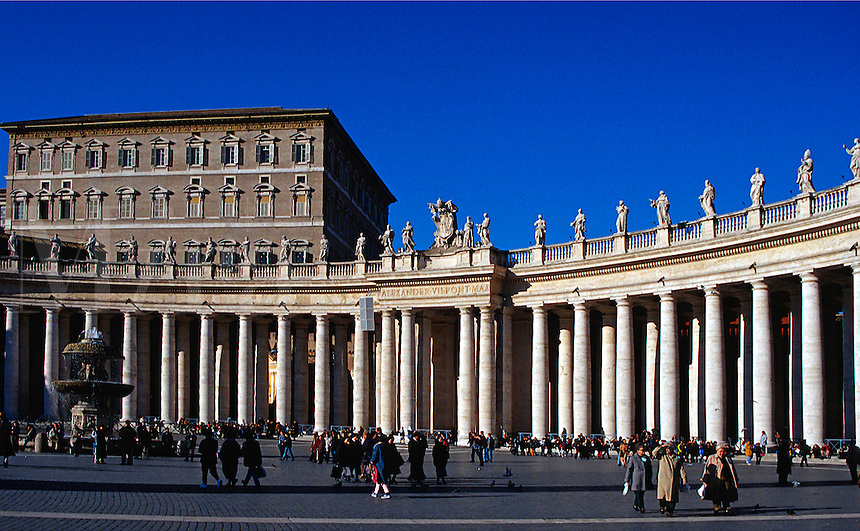 Tourists in St. Peter's Square, Vatican City, Rome, Italy