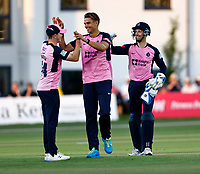 Chris Green (C) of Middlesex is congratulated after taking a hat-trick during Kent Spitfires vs Middlesex, Vitality Blast T20 Cricket at The Spitfire Ground on 11th June 2021