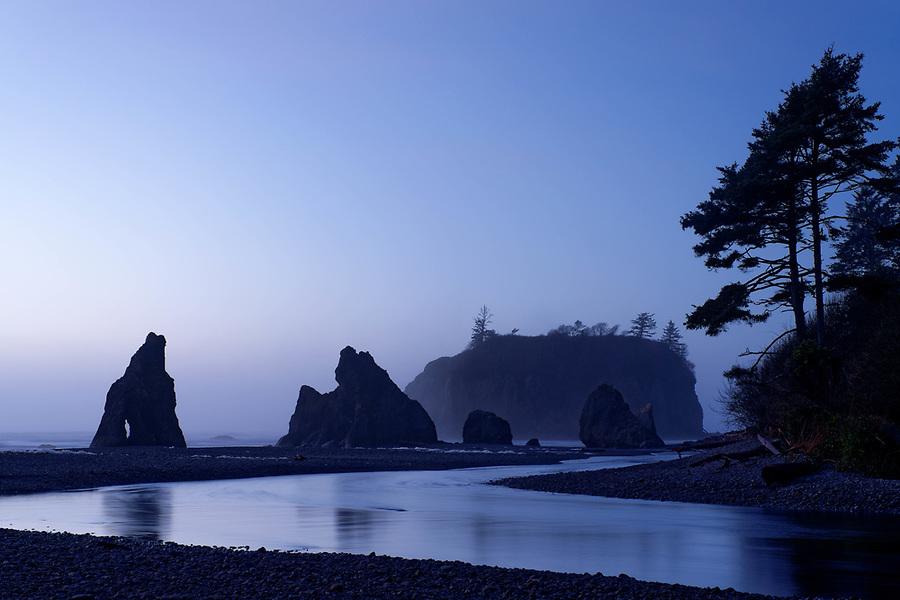 Sea stacks reflected in Cedar Creek at dusk, Ruby Beach, Olympic National Park, Jefferson County, Washington, USA