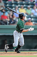 Second baseman Ryan Jones (2) of the Augusta GreenJackets bats in a game against the Greenville Drive on Friday, July 11, 2014, at Fluor Field at the West End in Greenville, South Carolina. Greenville won, 7-6. (Tom Priddy/Four Seam Images)