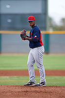 Cleveland Indians pitcher Jared Robinson (59) during an instructional league game against the Los Angeles Dodgers on October 15, 2015 at the Goodyear Ballpark Complex in Goodyear, Arizona.  (Mike Janes/Four Seam Images)