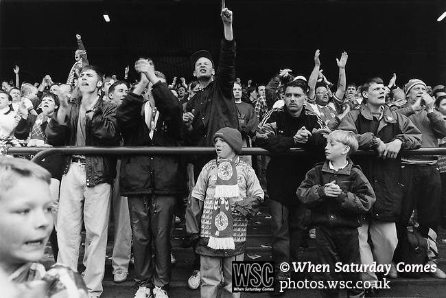 Fans in The Holgate End cheering the team onto the pitch for the last game of the season with Boro already relegated. Boro 3 Norwich 3, May 8th 1993. Photo by Paul Thompson