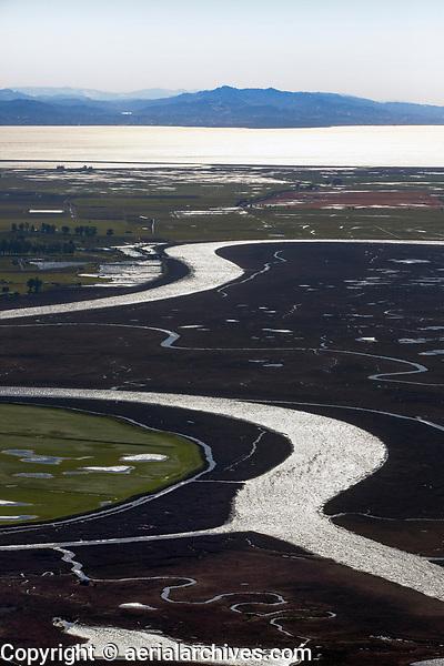 aerial photograph of the Petaluma River toward San Francisco Bay and Mount Diablo,  Sonoma County, California