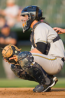 Catcher J.R. Murphy #21 of the Charleston RiverDogs at Fieldcrest Cannon Stadium May 29, 2010, in Kannapolis, North Carolina.  Photo by Brian Westerholt / Four Seam Images