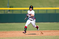 Mesa Solar Sox second baseman Esteban Quiroz (2), of the Boston Red Sox organization, runs to third base during an Arizona Fall League game against the Glendale Desert Dogs at Sloan Park on October 27, 2018 in Mesa, Arizona. Glendale defeated Mesa 7-6. (Zachary Lucy/Four Seam Images)