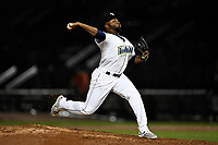 Adonis Uceta (30) of the Columbia Fireflies of the South team pitches during the South Atlantic League All-Star Game on Tuesday, June 20, 2017, at Spirit Communications Park in Columbia, South Carolina. The game was suspended due to rain after seven innings tied, 3-3. (Tom Priddy/Four Seam Images)