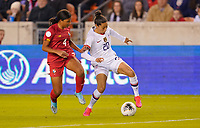 HOUSTON, TX - JANUARY 31: Christen Press #20 of the United States moves past Hilary Jaen #4 of Panama during a game between Panama and USWNT at BBVA Stadium on January 31, 2020 in Houston, Texas.