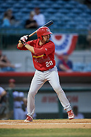 Palm Beach Cardinals first baseman Stefan Trosclair (28) at bat during a game against the Florida Fire Frogs on May 1, 2018 at Osceola County Stadium in Kissimmee, Florida.  Florida defeated Palm Beach 3-2.  (Mike Janes/Four Seam Images)