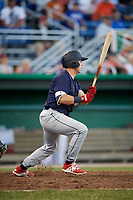 State College Spikes catcher Matt Duce (8) at bat during a game against the Batavia Muckdogs on July 7, 2018 at Dwyer Stadium in Batavia, New York.  State College defeated Batavia 7-4.  (Mike Janes/Four Seam Images)