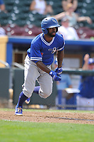 Oklahoma City Dodgers left fielder Andrew Toles (4) swings at a pitch against the Omaha Storm Chasers at Werner Park on June 24, 2018 in Omaha, Nebraska. Omaha won 8-0.  (Dennis Hubbard/Four Seam Images)