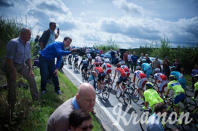 fans cheer on the peloton on top of the 1st climb of the day: the Côte de La Roche-en-Ardenne (2900m/5.6%)<br /> <br /> 101th Liège-Bastogne-Liège 2015