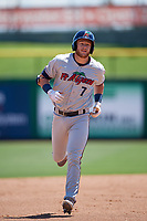 Fort Myers Miracle second baseman Travis Blankenhorn (7) rounds the bases after hitting a second inning home run during a game against the Clearwater Threshers on April 25, 2018 at Spectrum Field in Clearwater, Florida.  Clearwater defeated Fort Myers 9-5.  (Mike Janes/Four Seam Images)