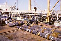 Kuwait November 1966.  Loading Oil Tanker, Kuwait Oil Company Wharf.  Ahmadi.
