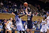 DURHAM, NC - NOVEMBER 29: Kayla Padilla #45 of the University of Pennsylvania shoots over Onome Akinbode-James #24 of Duke University during a game between Penn and Duke at Cameron Indoor Stadium on November 29, 2019 in Durham, North Carolina.