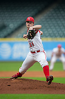 Louisiana Ragin' Cajuns starting pitcher Jack Burk (21) in action against the Vanderbilt Commodores in game five of the 2018 Shriners Hospitals for Children College Classic at Minute Maid Park on March 3, 2018 in Houston, Texas.  The Rajin' Cajuns defeated the Commodores 3-0.  (Brian Westerholt/Four Seam Images)