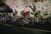 rolling through a huge dark cave: the 'Grotte du Mas-d'Azil'<br /> <br /> Stage 16: Carcassonne > Bagnères-de-Luchon (218km)<br /> <br /> 105th Tour de France 2018<br /> ©kramon