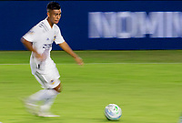 CARSON, CA - OCTOBER 18: Efrain Alvarez #26 of the Los Angeles Galaxy moves with the ball during a game between Vancouver Whitecaps and Los Angeles Galaxy at Dignity Heath Sports Park on October 18, 2020 in Carson, California.