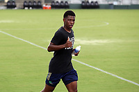 CARY, NC - AUGUST 01: Hadji Barry #92 heads to the locker room during a game between Birmingham Legion FC and North Carolina FC at Sahlen's Stadium at WakeMed Soccer Park on August 01, 2020 in Cary, North Carolina.