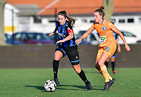 Ellen Martens (2 Brugge) pictured in a fight for the ball with Chloe Vande Velde (10 Gent) during a female soccer game between Club Brugge Dames YLA and AA Gent Ladies on the sixth matchday of the 2020 - 2021 season of Belgian Scooore Womens Super League , saturday 7 th November 2020  in Knokke , Belgium . PHOTO SPORTPIX.BE | SPP | DAVID CATRY