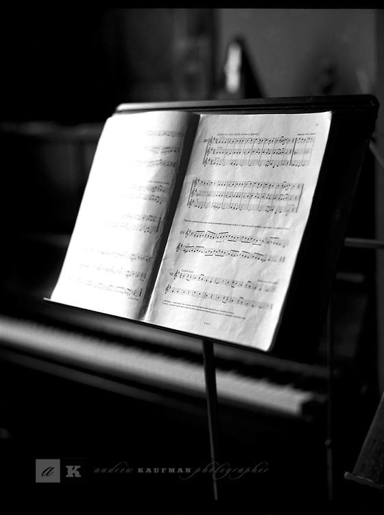 A music sheet in the window light, Prague, Czech Republic.
