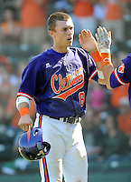 First baseman Richie Shaffer (8) of the Clemson Tigers in a game against the Michigan State Spartans on Sunday, Feb. 27, 2011, at Fluor Field in Greenville, S.C. Photo by Tom Priddy/Four Seam Images