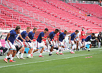 ZAPOPAN, MEXICO - MARCH 21: U23 players warm up before a game between Dominican Republic and USMNT U-23 at Estadio Akron on March 21, 2021 in Zapopan, Mexico.