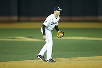 Wake Forest Demon Deacons shortstop Michael Turconi (6) on defense against the Sacred Heart Pioneers at David F. Couch Ballpark on February 15, 2019 in  Winston-Salem, North Carolina.  The Demon Deacons defeated the Pioneers 14-1. (Brian Westerholt/Four Seam Images)