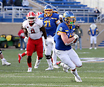 BROOKINGS, SD - MARCH 13: Jadon Janke #9 of the South Dakota State Jackrabbits looks for running room against the Youngstown State Penguins at Dana J. Dykhouse Stadium on March 13, 2021 in Brookings, South Dakota. (Photo by Dave Eggen/Inertia)