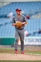 Lehigh Valley IronPigs relief pitcher Mark Leiter Jr. (47) gets ready to deliver a pitch during a game against the Syracuse Chiefs on May 20, 2018 at NBT Bank Stadium in Syracuse, New York.  Lehigh Valley defeated Syracuse 5-2.  (Mike Janes/Four Seam Images)
