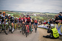 compact peloton with Greg Van Avermaet (BEL/BMC) ascends the Gulperenberg 1 last time<br /> <br /> 52nd Amstel Gold Race (1.UWT)<br /> 1 Day Race: Maastricht › Berg en Terblijt (264km)