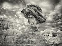 Balancing rock. Badlands National Park. South Dakota