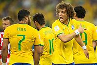 David Luiz of Brazil shouts at Hulk