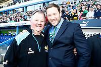 Photo: Richard Lane/Richard Lane Photography. London Irish v Wasps. Aviva Premiership. 16/05/2015. Wasps' Malcolm Sinclair with London Irish captain and former Wasp, George Skivington.