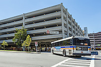A Westchester Bee-Line bus enters the White Plains TransCenter in White Plains, New York.