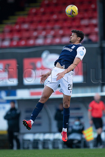 21st November 2020; Somerset Park, Ayr, South Ayrshire, Scotland; Scottish Championship Football, Ayr United versus Dundee FC; Osman Sow of Dundee as the ball skips off his head