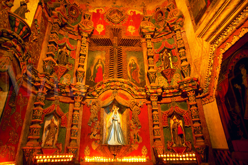 Interior of San Xavier del Bac Mission, Tucson, Arizona