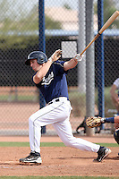 Connor Powers #27 of the San Diego Padres plays in minor league spring training game against the Seattle Mariners at the Padres minor league complex on March 19, 2011  in Peoria, Arizona. .Photo by:  Bill Mitchell/Four Seam Images.