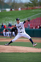 Kane County Cougars starting pitcher Ryan Weiss (29) during a Midwest League game against the Cedar Rapids Kernels at Northwestern Medicine Field on April 28, 2019 in Geneva, Illinois. Kane County defeated Cedar Rapids 3-2 in game one of a doubleheader. (Zachary Lucy/Four Seam Images)