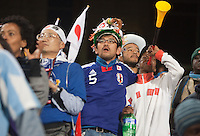 Japanese fans watch the action on the field.  Japan played Paraguay in a 2010 FIFA World Cup second round match at Loftus Versfeld Stadium in Tshwane/Pretoria, South Africa on Tuesday, June 29, 2010.