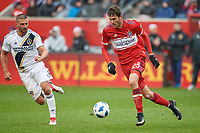 Bridgeview, IL - Saturday April 14, 2018: Elliot Collier, Perry Kitchen during a regular season Major League Soccer (MLS) match between the Chicago Fire and the LA Galaxy at Toyota Park.  The LA Galaxy defeated the Chicago Fire by the score of 1-0.