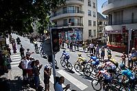 Team Deceuninck-Quickstep escorting yellow jersey / GC leader Julian Alaphilippe (FRA/Deceuninck - QuickStep) through Rodez<br /> <br /> Stage 10: Saint-Flour to Albi(217km)<br /> 106th Tour de France 2019 (2.UWT)<br /> <br /> ©kramon